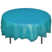 Turquoise Plastic Round  Table Cover