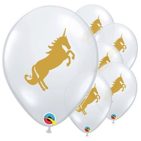 Unicorn  Clear Latex Balloon set of 6