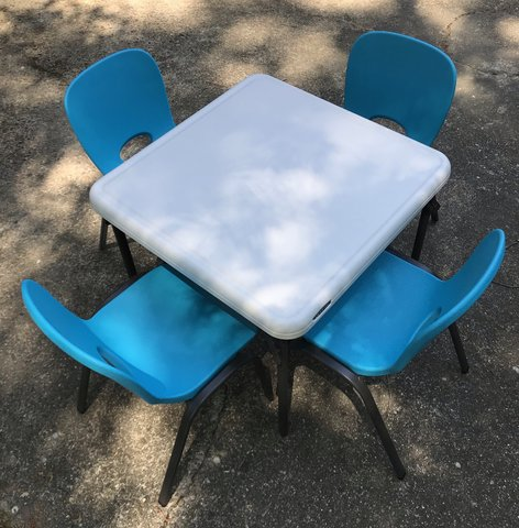 Kids Table w/ 4 Blue Chairs