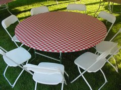 "Red Gingham Easy Cover for 60"" Round Table"