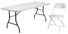 Package: 2 rectangular tables, 12 gray adult chairs