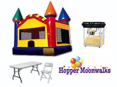Backyard Package A - Large primary-colored bounce castle, 3 tables, 18 chairs, and popcorn machine