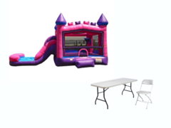 Backyard Bounce n Slide (pink/purple), 2 tables, 12 gray chairs (DRY)