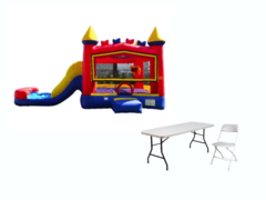 Backyard Bounce n Slide (primary), 2 tables, 12 gray chairs (DRY)