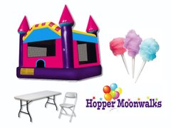 Backyard Package B - Large pink & purple bounce castle, 3 tables, 18 chairs, and cotton candy machine