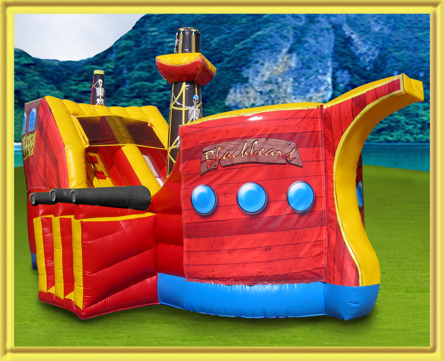 Pirate ship bounce house combo