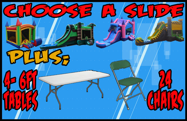 Slide Bounce House | 4 6ft Tables | 24 Chairs