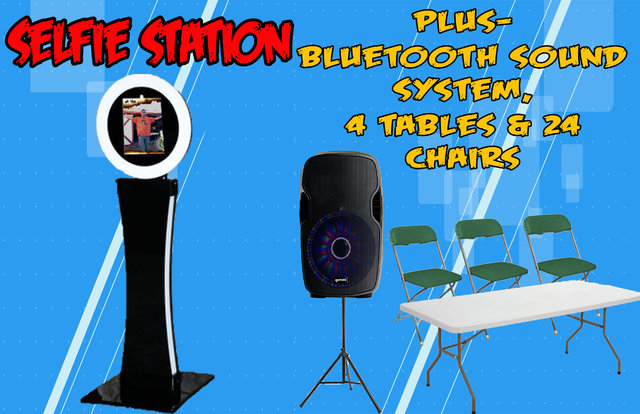 Selfie Station | Bluetooth Speaker | 4 tables 24 chairs