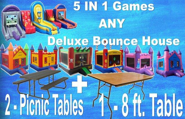 Inflatable Carnival Games Bounce House Package Rental Myevent - Inflatable picnic table