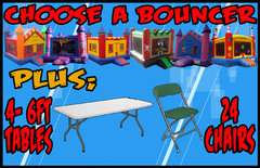 Choose A Bouncer + 4 Tables + 24 Chairs