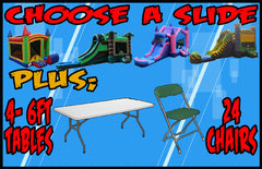 Choose A Slide + 4 Tables + 24 Chairs