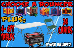 Choose A Bouncer + 4 Tables + 24 Chairs + Generator