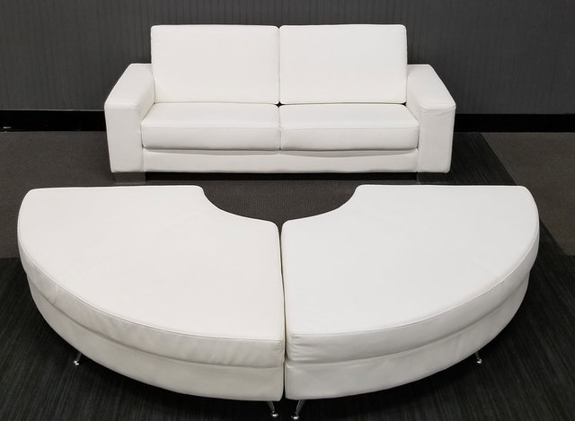 White Leather Couch and Ottomans (At Our Facility)