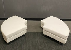 White leather Ottomans (At Your Location)