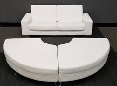 White Leather Couch and Ottomans (At Your Location)