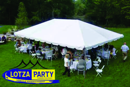 backyard tent rental by Lotza Party