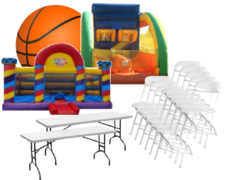Large Basketball Court Jumpy with Shooting Game, 15 Chairs, 2 Tables Package