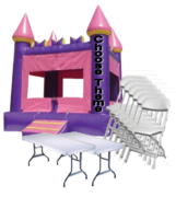 Purple Castle Jump house , 15 Chairs, 2 Tables Package