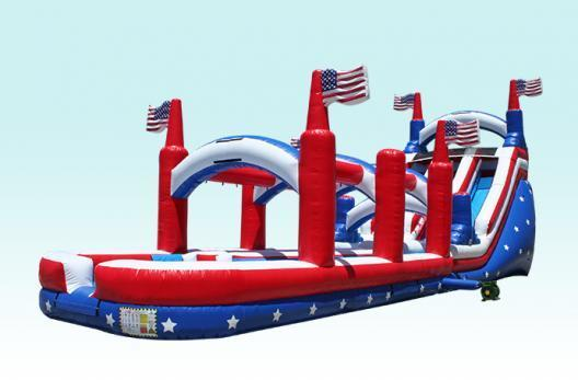 62Ft Long 24Ft H Extra Large Big Country Dual Lane Water Slide Combo w / Slipe N' Slide