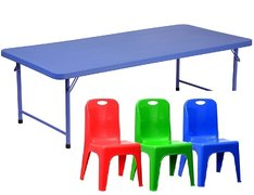 Kids Blue Table 5 ft and Assorted Color Chairs