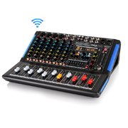 8-Channel Bluetooth Studio Audio Mixer - DJ Sound Controller Interface w/ USB Drive