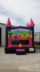 13x13 Hot Pink Castle w/ Rainbow Birthday
