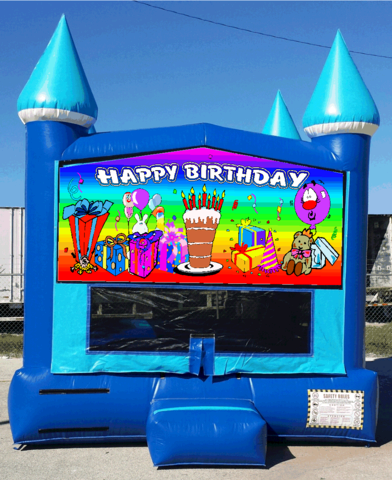 13x13 Blue Ice Rainbow Birthday Bouncer