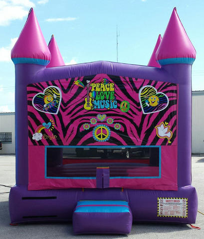 13x13 Pink Palace Bounce House Peace, Love Theme