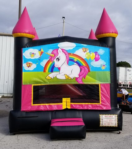(00001) Hot pink unicorn bounce house