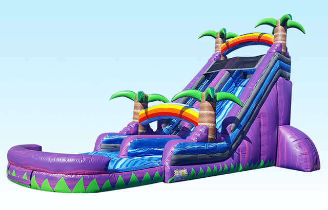 (004) 24 Foot Tall Purple Splash Down Water Slide