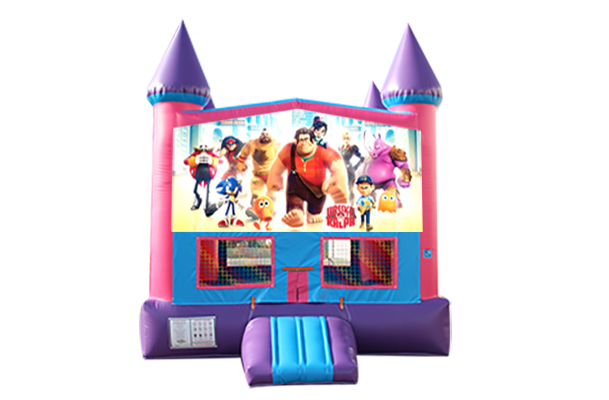 Wreck it Ralph Pink and Purple Castle Moonwalk w/basketball goal