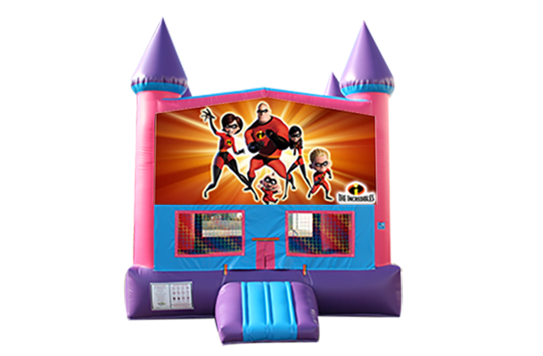 Incredibles Pink and Purple Castle Moonwalk w/basketball goal