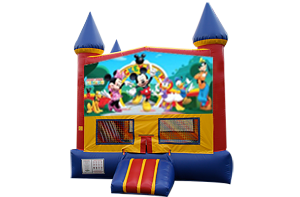Mickey Mouse Clubhouse Red, Yellow, Blue Castle Moonwalk w/basketball goal