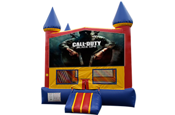 Call of Duty Red, Yellow, Blue Castle Moonwalk w/basketball goal