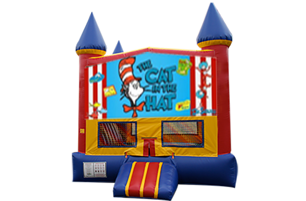 Cat in the Hat Red, Yellow, Blue Castle Moonwalk w/basketball goal
