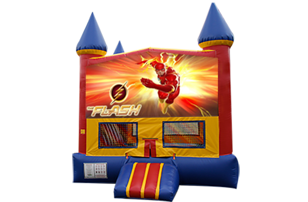 Flash Red, Yellow, Blue Castle Moonwalk w/basketball goal