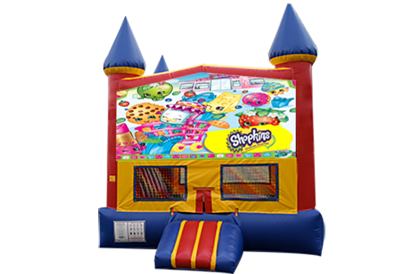 Shopkins Red, Yellow, Blue Castle Moonwalk w/basketball goal