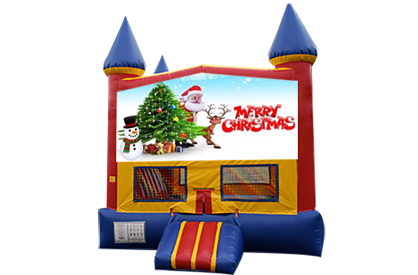 Merry Christmas Red, Yellow, Blue Castle Moonwalk w/basketball goal