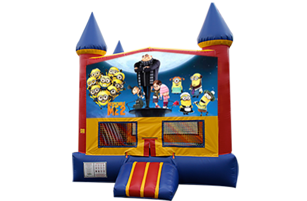 Despicable Me Red, Yellow, Blue Castle Moonwalk w/basketball goal