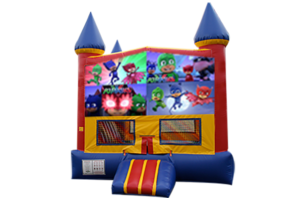 PJ Masks Red, Yellow, Blue Castle Moonwalk w/basketball goal