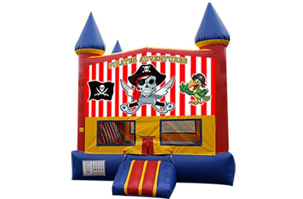 Pirates Red, Yellow, Blue Castle Moonwalk w/basketball goal
