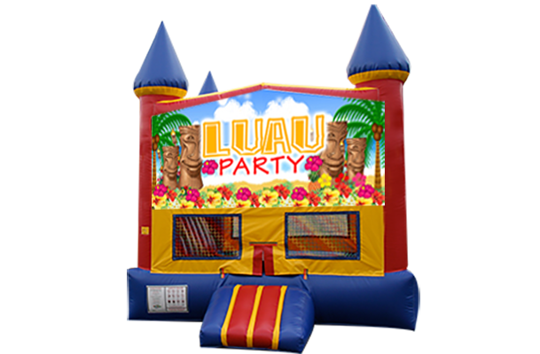 Luau Red, Yellow, Blue Castle Moonwalk w/basketball goal