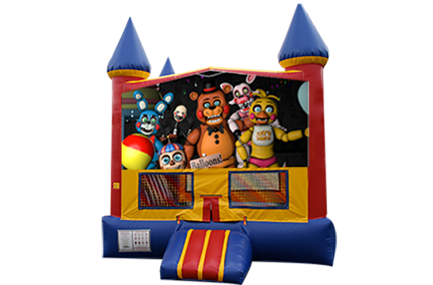 Five Nights at Freddy's Red, Yellow, Blue Castle Moonwalk w/basketball goal