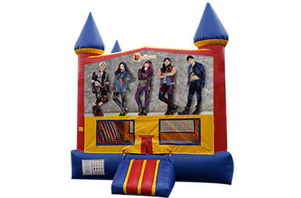 Disney Descendants Red, Yellow, Blue Castle Moonwalk w/basketball goal