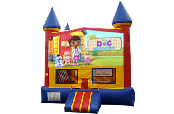 Doc McStuffins Red, Yellow, Blue Castle Moonwalk w/basketball goal