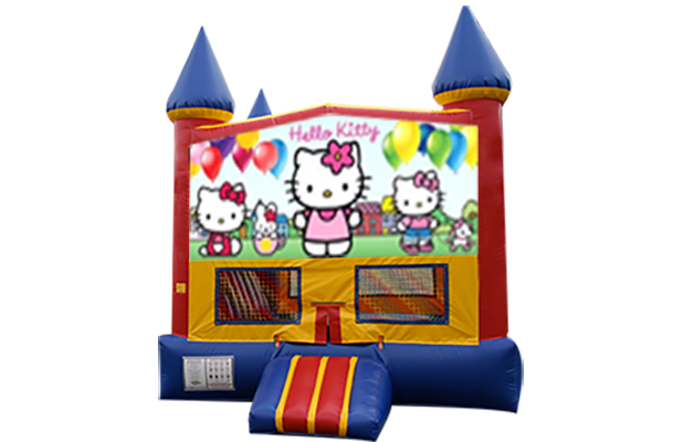 Hello Kitty Red, Yellow, Blue Castle Moonwalk w/basketball goal