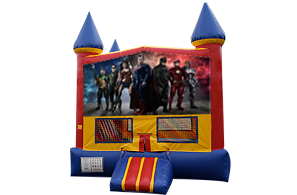Justice League Red, Yellow, Blue Castle Moonwalk w/basketball goal