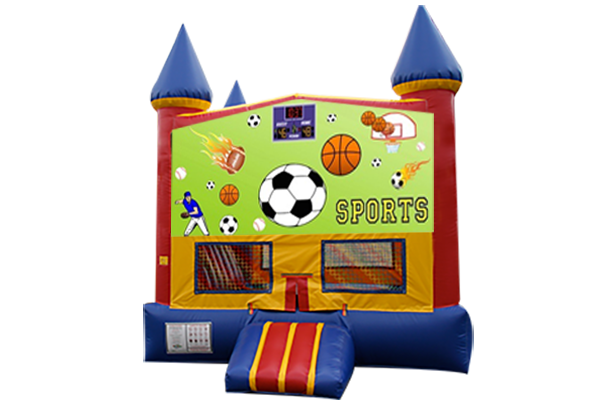 Sports Red, Yellow, Blue Castle Moonwalk w/basketball goal