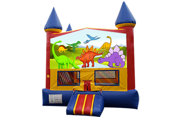 Dinosaurs Red, Yellow, Blue Castle Moonwalk w/basketball goal