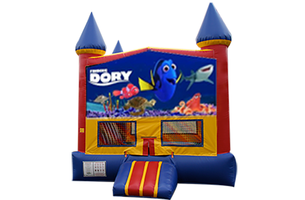 Finding Dory Red, Yellow, Blue Castle Moonwalk w/basketball goal